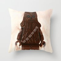 chewbacca Throw Pillows featuring Lego Chewbacca by Toys 'R' Art