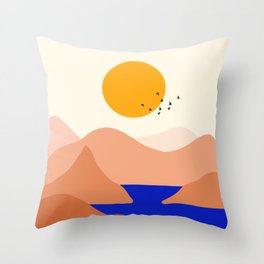 Sunset Over The Mountains Throw Pillow