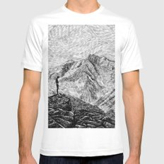 Child on the rock - Black ink MEDIUM White Mens Fitted Tee