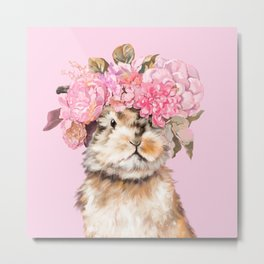 Rabbit with Flowers Crown Metal Print