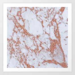 Intense rose gold marble Art Print