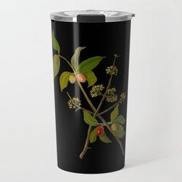 Cornus Mascula Mary Delany Delicate Paper Flower Collage Black Background Floral Botanical Travel Mug