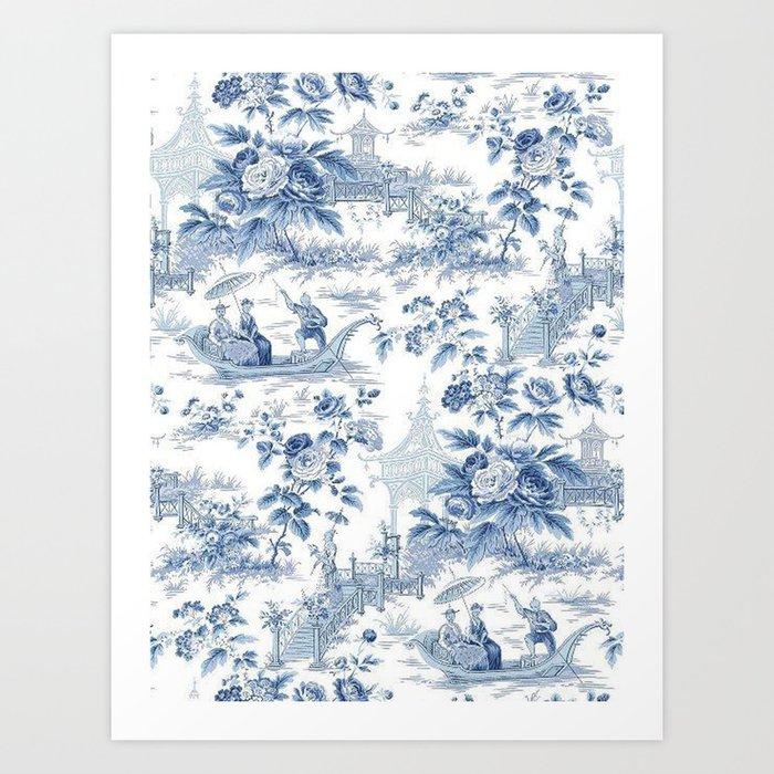 Powder Blue Chinoiserie Toile Kunstdrucke