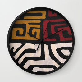 African Mudcloth Print Wall Clock