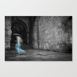 Street photography of a man in the rain in a building of the middle evo Canvas Print