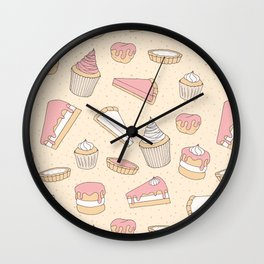Pink Pastry Pattern Wall Clock