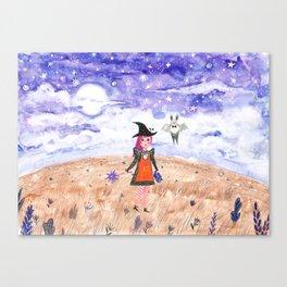 Starry Halloween night Canvas Print