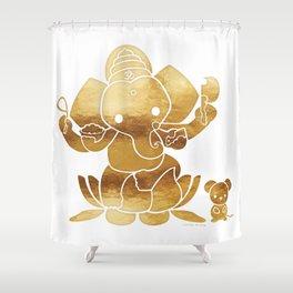 Golden Ganesha Shower Curtain