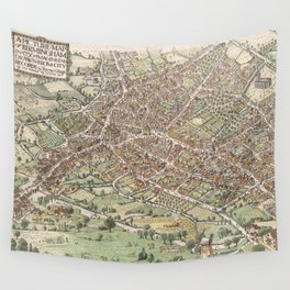 Vintage Pictorial Map of Birmingham England (1923) Wall Tapestry