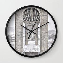 Winter River View Wall Clock