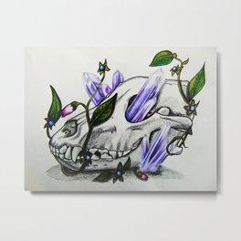 Wolf Skull, Belladonna & Amethyst Crystal Metal Print