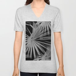 Gray Grey On Black Tropical Vibes Beach Palmtree Vector Unisex V-Neck