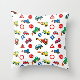 Kid cars, car and machine, tractor Throw Pillow
