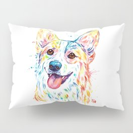 Corgi Colorful Watercolor Pet Portrait Painting Pillow Sham