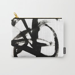 Brushstroke 4 - a simple black and white ink design Carry-All Pouch