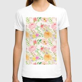 Watercolor Peach Rose Pattern T-shirt