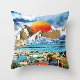 Orange moonset beach Throw Pillow