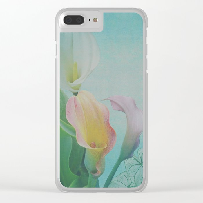 Painterly Calla flowers and leaves Clear iPhone Case