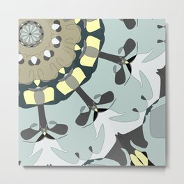 Whimsical Pattern in Blue and Gray Tone with Pale Yellow Metal Print