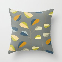 Mid Century Modern Graphic Leaves Pattern 3. dark grey Throw Pillow