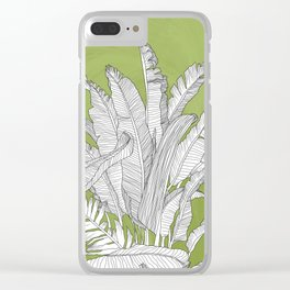 Banana Leaves Illustration - Green Clear iPhone Case