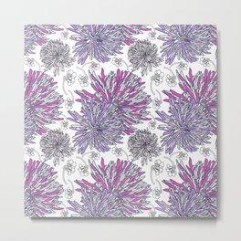 Pinky purple botanical floral 2020 pattern design Metal Print