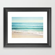 Ocean Seascape Photography, Aqua Beach Sea Landscape Framed Art Print