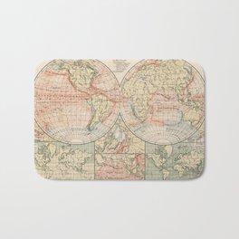 Vintage World Ocean Currents Map (1905) Bath Mat