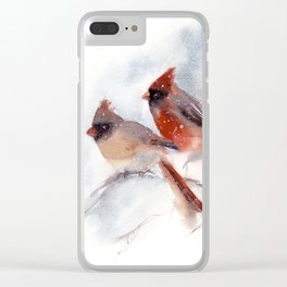 Northern Cardinal Birds Couple Clear iPhone Case