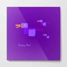 Happy Bird-Purple Metal Print
