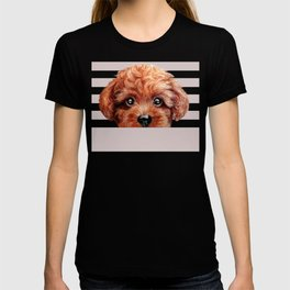 Toy poodle red brown Dog illustration original painting print T-shirt