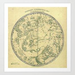 Antique Celestial Northern Circumpolar Map Art Print
