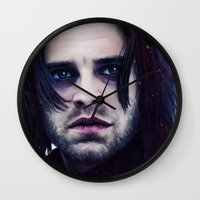 """bucky barnes Wall Clocks featuring Bucky Barnes """"The Winter Soldier"""" Portrait by thecannibalfactory"""