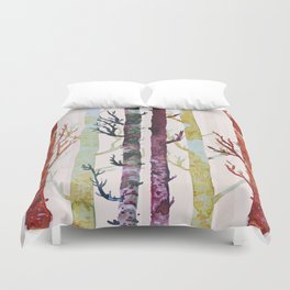 Color Birch Trees Duvet Cover
