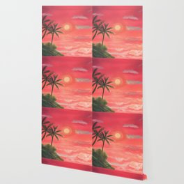 Palm trees swaying in the wind Wallpaper