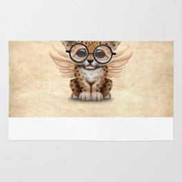 Cute Leopard Cub Fairy Wearing Glasses Rug