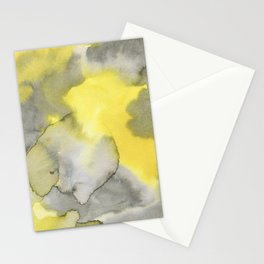 Hand painted gray yellow abstract watercolor pattern Stationery Cards