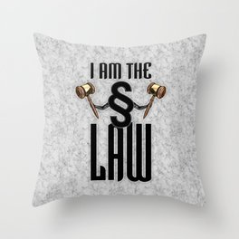 I am the law / 3D render of section sign holding judges gavels Throw Pillow