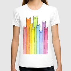 Cat Rainbow Watercolor Whimsical Animals Cats Pattern White MEDIUM Womens Fitted Tee