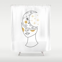 Crescent Moon Girl Shower Curtain