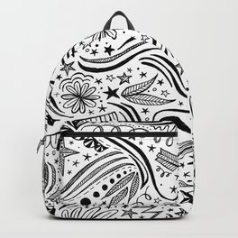 black and white doodle pattern Backpack