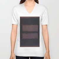 rothko V-neck T-shirts featuring Black on Maroon 1958 by Mark Rothko by mJdesign