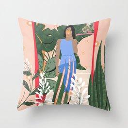 Plant Girl #4 Throw Pillow