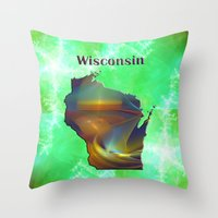 wisconsin Throw Pillows featuring Wisconsin Map by Roger Wedegis