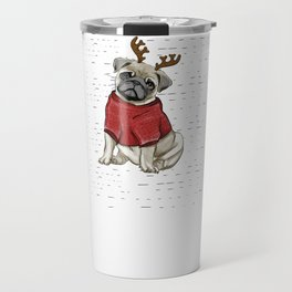 Reindeer Pug Travel Mug