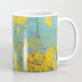 yellow and blue worn paint and rust texture Coffee Mug