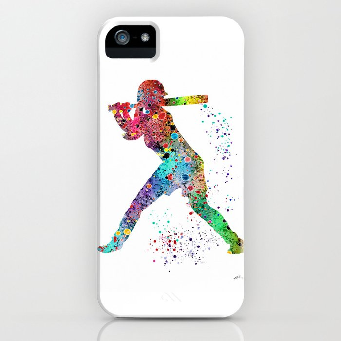baseball softball player sports art print watercolor print girl's softball iphone case