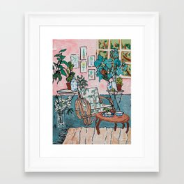 Rattan Chair in Jungle Room Framed Art Print