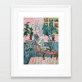 Rattan Chair in Jungle Room Framed Art Print