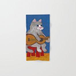 Cat Playing Guitar Hand & Bath Towel